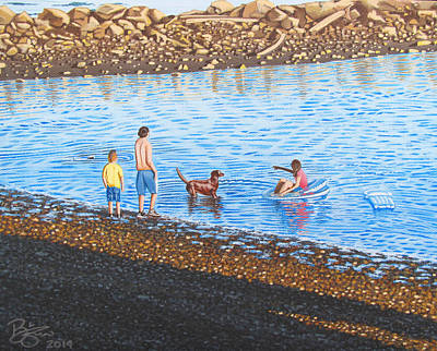 Dog Play Beach Painting - Fetch by Lance Bifoss