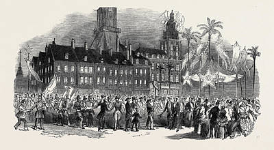 Grande Drawing - Fete At Calais, Musical Procession In The Grande Place by English School