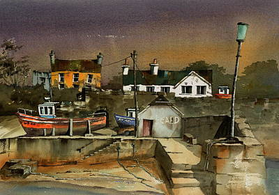 Painting - Fethard Harbour  Wexford by Val Byrne