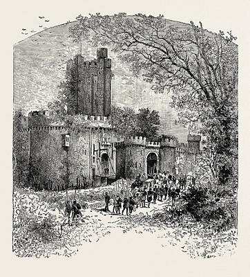 Feudal Castle In The Eleventh Century Art Print by English School