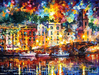 Few Boats - Palette Knife Oil Painting On Canvas By Leonid Afremov Original
