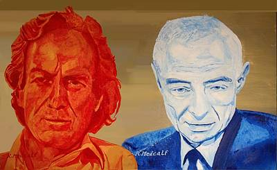 Feynman Painting - Feynman And Oppenhiemer by Roger Medcalf