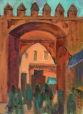 Construction Painting - Fez Town Scene by Diane McClary