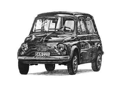 Italian Classic Car Drawing - Fiat 500 Estate by Benjamin Self