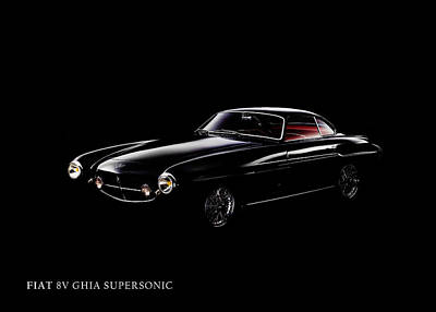 Fiat 8v Supersonic Black Edition Art Print by Mark Rogan