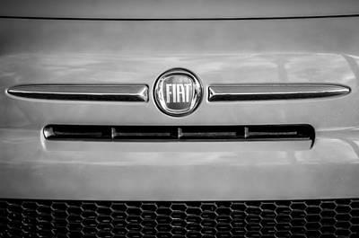 Photograph - Fiat Emblem 0308bw by Jill Reger
