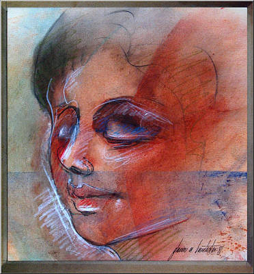 Drawing - Fictitious Face 1981 by Glenn Bautista