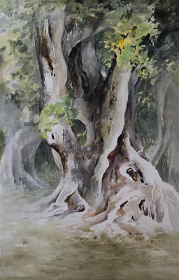 Mystical Landscape Painting - Ficus Aurea by Rachel Christine Nowicki