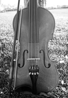 Photograph - Fiddle And Bow Bw by Kerri Mortenson