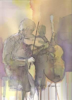 Fiddle Wall Art - Painting - Fiddle N' Bass  by Robert Yonke