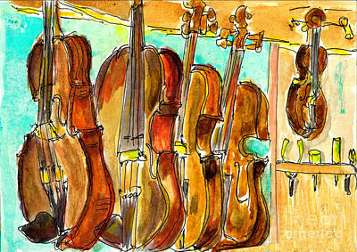 Painting - Fiddle Shop by Andrea Rubinstein