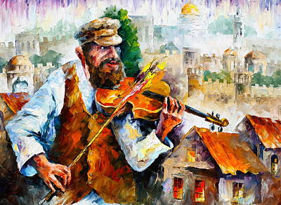 Judaic Painting - Fiddler  In Jerusalem 2 New by Leonid Afremov