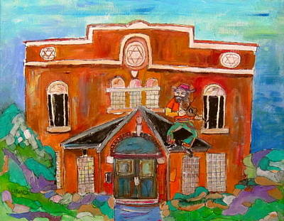Fiddler On The Roof Painting - Fiddler In Lachine by Michael Litvack