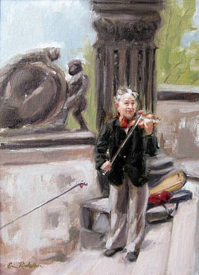 Painting - Fiddler In Prague by Erin Rickelton