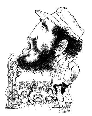 Caricature Drawing - Fidel Castro (1926-2016) by Granger