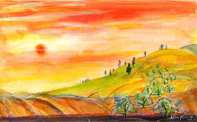 Art Print featuring the painting Field And Sunset by Mary Armstrong