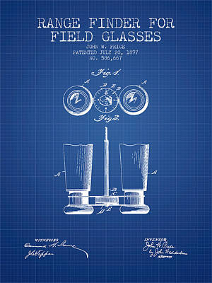 Glass Wall Digital Art - Field Glasses Patent From 1897 - Blueprint by Aged Pixel