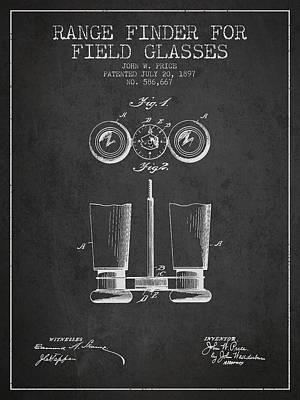 Glass Wall Digital Art - Field Glasses Patent From 1897 - Dark by Aged Pixel