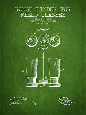 Glass Wall Digital Art - Field Glasses Patent From 1897 - Green by Aged Pixel