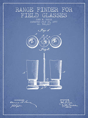 Glass Wall Digital Art - Field Glasses Patent From 1897 - Light Blue by Aged Pixel