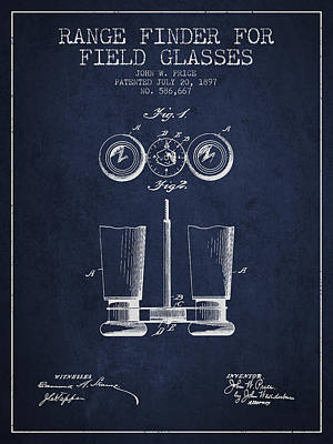 Glass Wall Digital Art - Field Glasses Patent From 1897 - Navy Blue by Aged Pixel