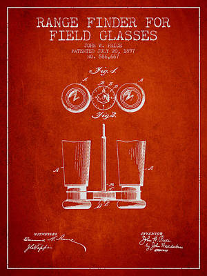 Glass Wall Digital Art - Field Glasses Patent From 1897 - Red by Aged Pixel