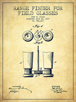 Glass Wall Digital Art - Field Glasses Patent From 1897 - Vintage by Aged Pixel