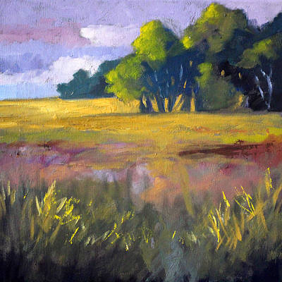 Field Grass Landscape Painting Original by Nancy Merkle