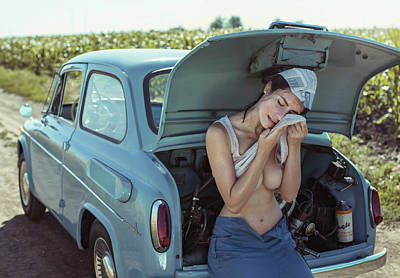 Field, Heat, Girl And Car. Art Print