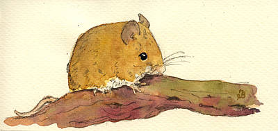 Farm Animal Painting - Field Mouse by Juan  Bosco