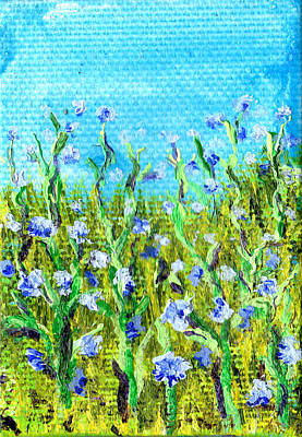 Painting - Field Of Cornflowers 3 By 2 Inch Miniature Painting by Regina Valluzzi