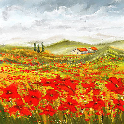 Field Of Dreams - Poppy Field Paintings Art Print by Lourry Legarde
