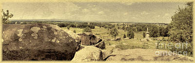 Little Round Top Digital Art - Field Of Gettysburg by Nigel Fletcher-Jones