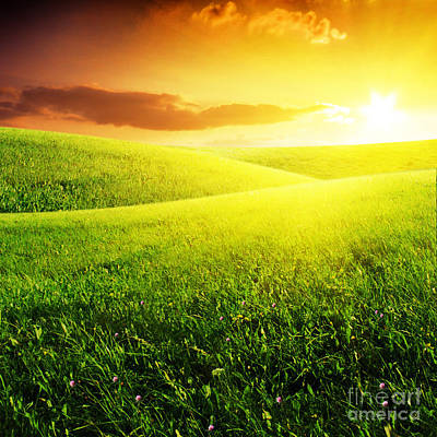 Field Of Grass And Sunset Art Print by Boon Mee