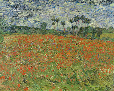 Poppies Field Painting - Field Of Poppies, Auvers-sur-oise, 1890 by Vincent van Gogh