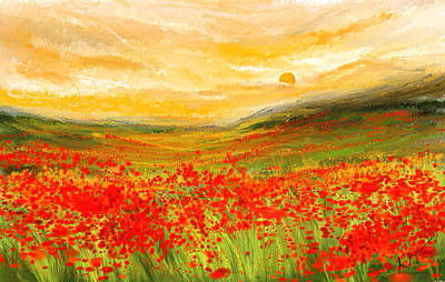 Flower Fields Painting - Field Of Poppies- Field Of Poppies Impressionist Painting by Lourry Legarde