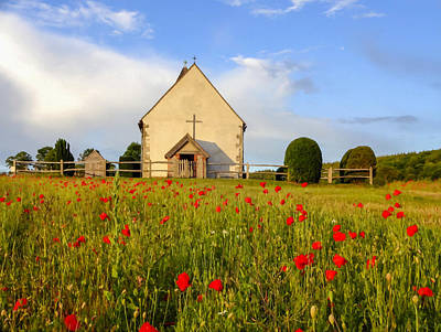 Church On The Hill Photograph - Field Of Poppies by Stephen Baker