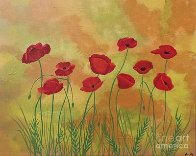 Painting - Field Of Red Poppies by Jean Fry