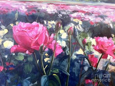 Yellow Rose Of Texas Painting - Field Of Roses by Janelle Pollard