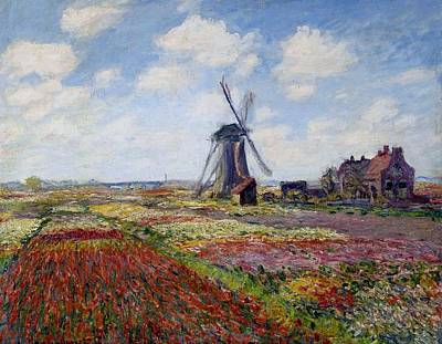 Tulips In Field Painting - Field Of Tulips In Holland by Claude Monet
