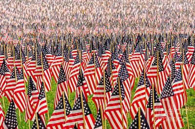 Field Of Us Flags Art Print by Mike Ste Marie