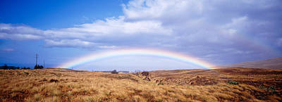 Double Rainbow Photograph - Field, Rainbow, Hawaii, Usa by Panoramic Images