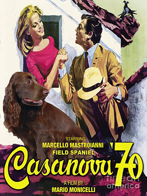 Painting - Field Spaniel Art Canvas Print - Casanova Movie Poster by Sandra Sij