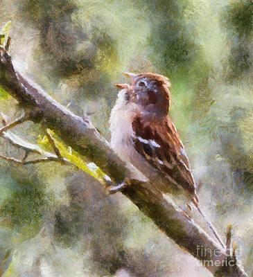 Digital Art - Field Sparrow Sings by Kerri Farley