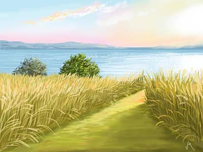 Sunset Seascape Painting - Field by Veronica Minozzi