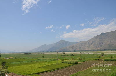Art Print featuring the photograph Fields Mountains Sky And A River Swat Valley Pakistan by Imran Ahmed