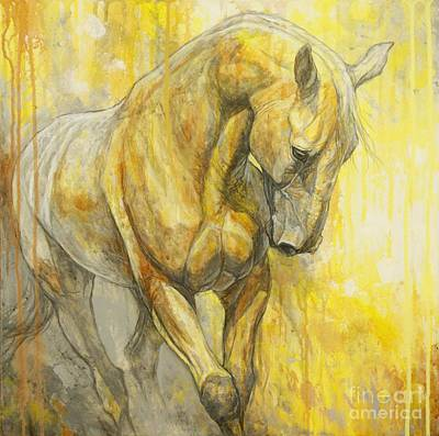 Horse Art Painting - Fields Of Gold by Silvana Gabudean Dobre