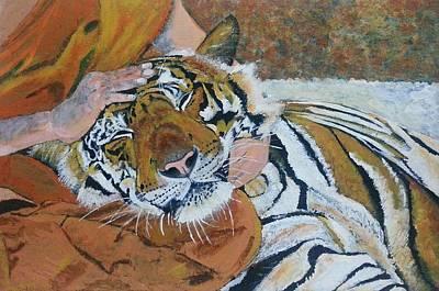 Buddhist Painting - Fierce Calmness - Monk And The Beast by Vidya Vivek