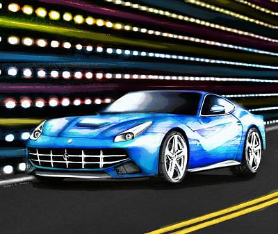 Super Cars Drawing - Fierce Ferrari by Ginger Guillot