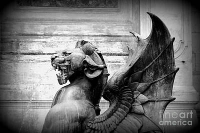 Photograph - Fierce Paris Dragon - Black And White by Carol Groenen